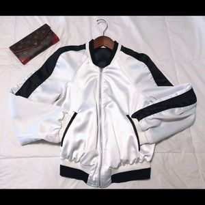 Bebe🌸 Reversible white & black bomber jacket